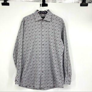 Men's Size Large Bugatchi Uomo Button Front Shirt